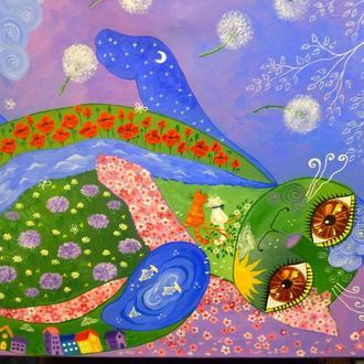"""АВТОРСКАЯ ЭКСКЛЮЗИВНАЯ ЖИВОПИСЬ. КАРТИНА """"Мир, созданный для Счастья и Любви"""", 70*80 см."""