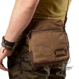 Мужская сумка небольшого размера из канваса и натуральной кожи