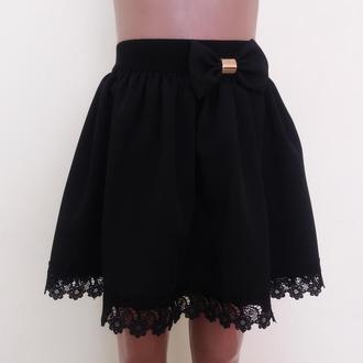 Детская школьная юбка на резинке «Ромашка», модель № 40