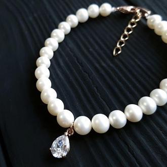 Браслет з натуральних перлів та кристаллом у позолоті свадебный браслет из жемчуга с подвеской