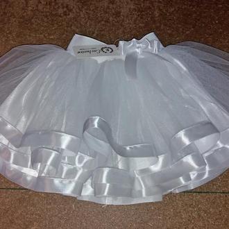Детская юбка из фатина на резинке, белая, с лентой, в ассортименте модель № 68