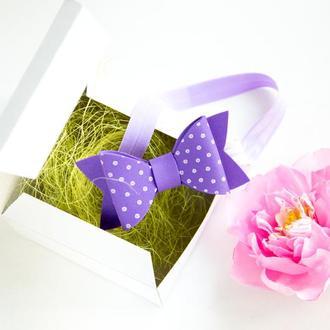 Детская повязка бантик для девочки сиреневая