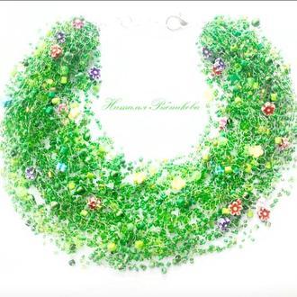 Воздушное колье Яркое пышное зеленое колье Весеннее колье Подарок на 8 марта Лучший подарок