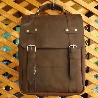 Большой кожаный рюкзак из натуральной кожи Crazy Horse