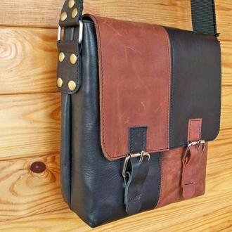 Кожаная сумка двухцветная, натуральная кожа
