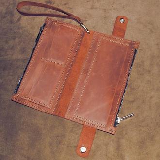 Кожаный кошелек-клатч унисекс из Crazy Horse