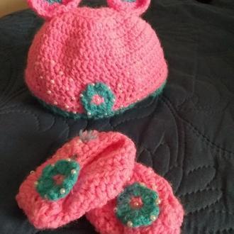 Шапочка и пинетки набор для новорожденного