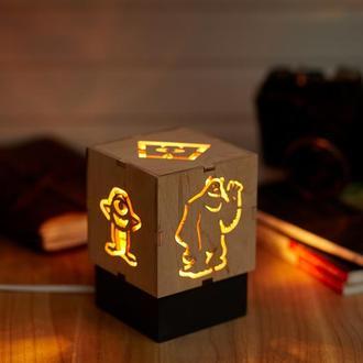 """Дерев'яний нічний світильник з лампою Едісона """"Корпорація монстрів"""""""