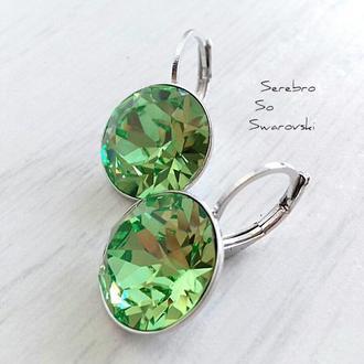 Серьги с бриллиантами Сваровски Хризолит