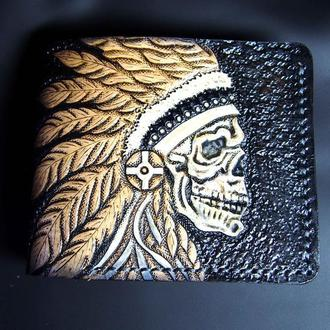 Мужское портмоне с черепом, кожаный кошелек с тиснением, кошелек с рисунком