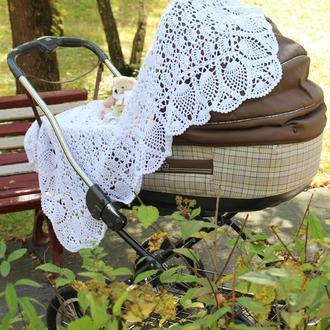"""Вязаный детский плед """"Изысканный"""", на выписку, в коляску, handmade"""