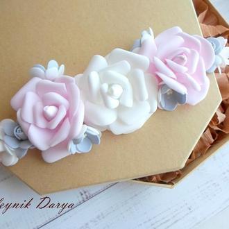 Повязка с цветочками из фоамирана для девочки