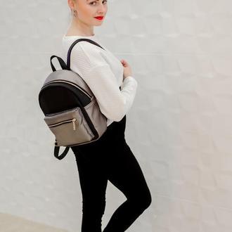 Большой стильный женский рюкзак черный с серебром