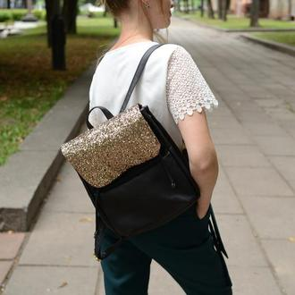 Женский рюкзак черный с блестками