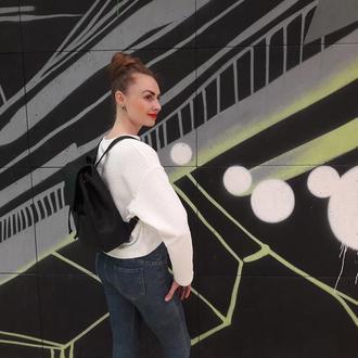 Дизайнерский женский рюкзак черный эко кожа