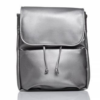 Дизайнерский серебряный рюкзак эко кожа