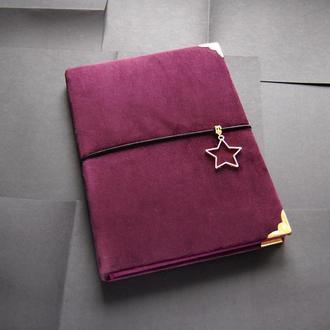 Мягкий блокнот  с фиолетовыми листами