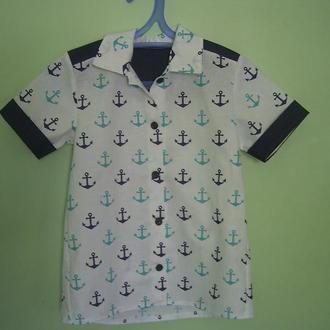 Рубашка в морском стиле, для мальчика, для девочки