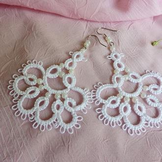 Кружевные серьги 'Anna' , длинные свадебные серьги