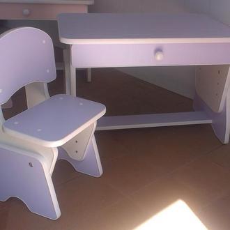 Столик и стульчик с регулировкой высоты. Лаванда/белый.