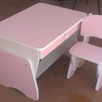 Столик и стульчик с регулировкой высоты. Розовый/белый. Николаев. Украина.