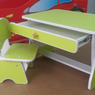 Детский столик и стульчик с регулировкой высоты. лайм/белый. Николаев. Украина