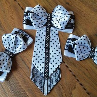 Бантики и галстучек для школы Комплект для школы в горошек