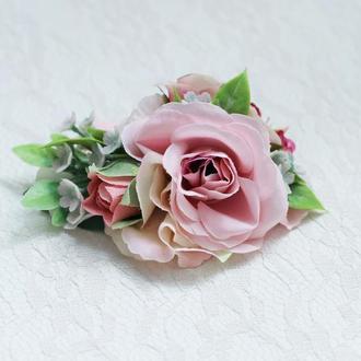 Заколка зажим роза