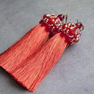 Оранжевые кисточки Оскар де ла Рента Вискозные кисти Серьги длинные