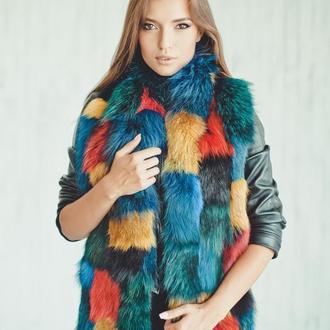 Меховой шарф цветной