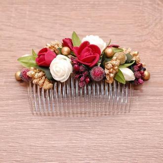 Гребень гребешок в прическу с цветами