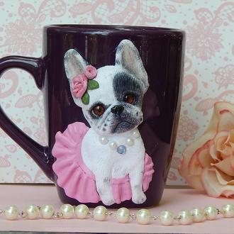 """Чашка с полимерной глиной """"Французский бульдог"""".Кружка с собакой.Кружка с бульдогом-отличный подарок"""