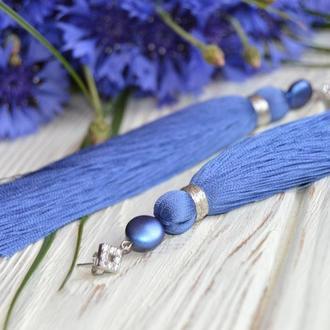 длинные серьги со сваровски в синем цвете