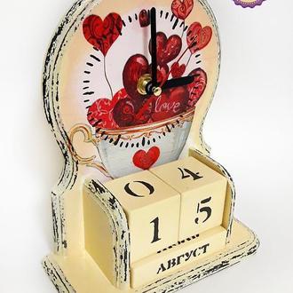 Вечный календарь с часами Любящие сердца