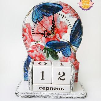 Вечный календарь с часами Яркие бабочки