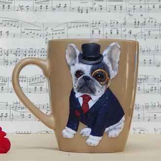 """Чашка с полимерной глиной """" Французский бульдог"""".Кружка с собакой.Подарок мужчине."""