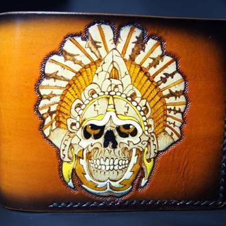 Мужское портмоне череп майя, кожаный мужской бумажник, кошелек с черепом