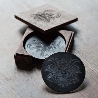 Костер шкіряний чорний 90 мм, набір 4 шт. | Round Leather Coasters | Bierdeckel | Beermat
