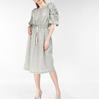 Платье льняное с кулисками