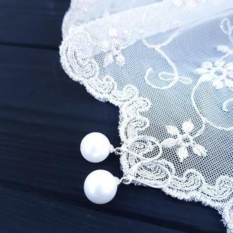 Сережки з перлинами Майорка та срібними застібками сережки с жемчугом свадебные
