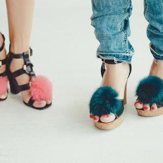 Меховые помпоны для обуви Зеленый