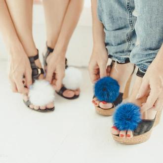 Меховые помпоны для обуви Синий