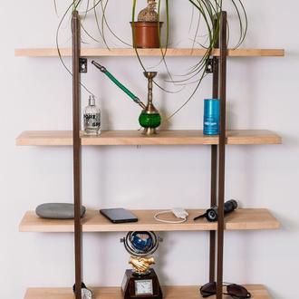 Полиця в індустріальному стилі з натурального дерева