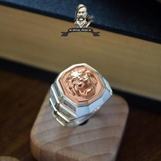 """Печатка """"Король"""" срібна з золотою накладкою"""