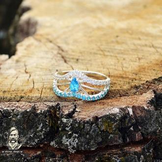 Каблучка срібна «Морська діадема»
