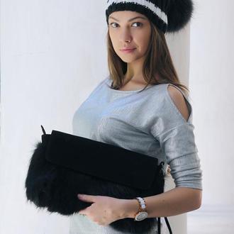 Клатч из меха лисы черный