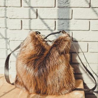 Меховой сумка-рюкзак