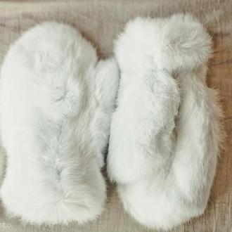 Варежки из кролика белые