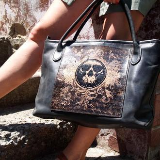 Кожаная сумка женская Черная с черепом