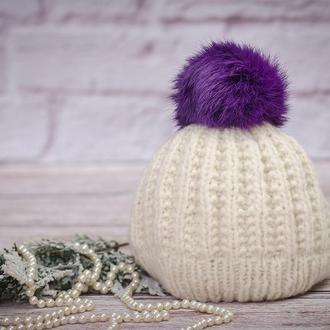 Помпон из кролика фиолетовый